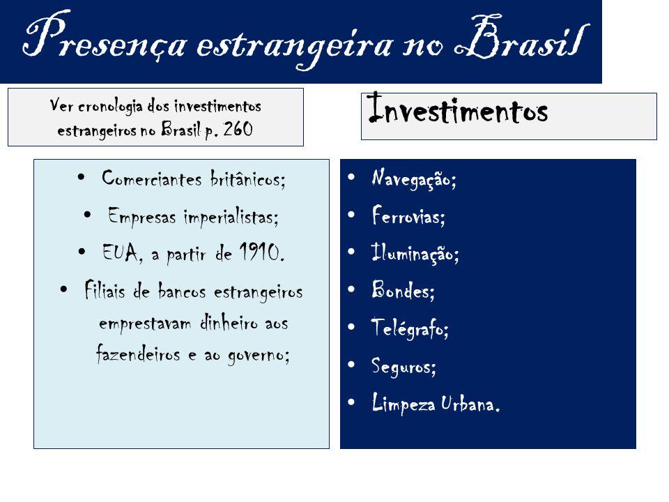 Presença estrangeira no Brasil Ver cronologia dos investimentos estrangeiros no Brasil p.
