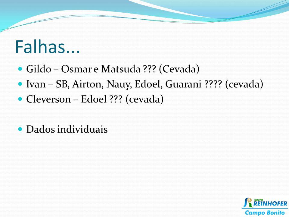Falhas... Gildo – Osmar e Matsuda ??? (Cevada) Ivan – SB, Airton, Nauy, Edoel, Guarani ???? (cevada) Cleverson – Edoel ??? (cevada) Dados individuais