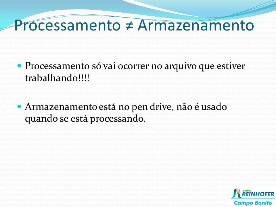 Processamento Armazenamento Processamento só vai ocorrer no arquivo que estiver trabalhando!!!! Armazenamento está no pen drive, não é usado quando se