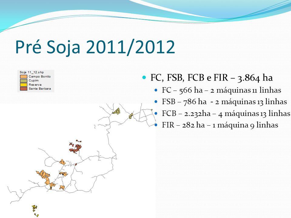 Pré Soja 2011/2012 FC, FSB, FCB e FIR – 3.864 ha FC – 566 ha – 2 máquinas 11 linhas FSB – 786 ha - 2 máquinas 13 linhas FCB – 2.232ha – 4 máquinas 13