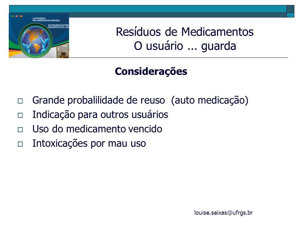 louise.seixas@ufrgs.br Considerações Grande probalilidade de reuso (auto medicação) Indicação para outros usuários Uso do medicamento vencido Intoxica
