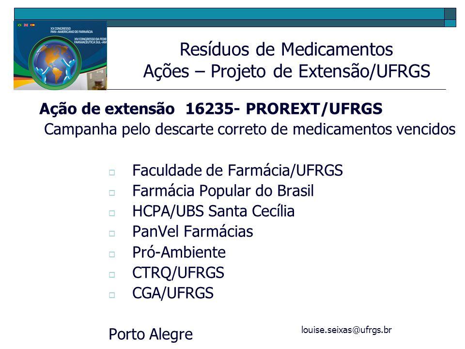 louise.seixas@ufrgs.br Ação de extensão 16235- PROREXT/UFRGS Campanha pelo descarte correto de medicamentos vencidos Faculdade de Farmácia/UFRGS Farmá