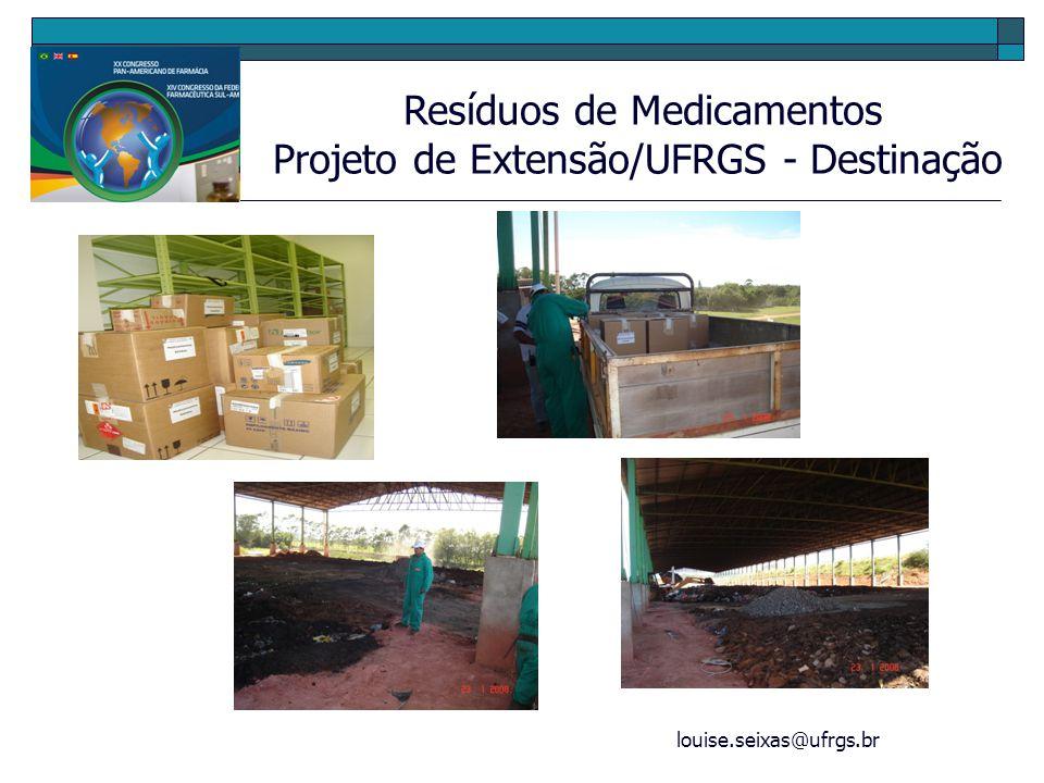 louise.seixas@ufrgs.br Resíduos de Medicamentos Projeto de Extensão/UFRGS - Destinação