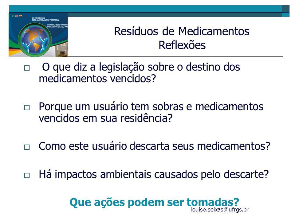 louise.seixas@ufrgs.br Campanha de recolhimento dos medicamentos vencidos das residências dos usuários Farmácias que recebam medicamentos vencidos Orientação ao usuário para o uso e descarte correto de medicamentos Providências quanto às apresentações e amostras grátis Resíduos de Medicamentos Propostas