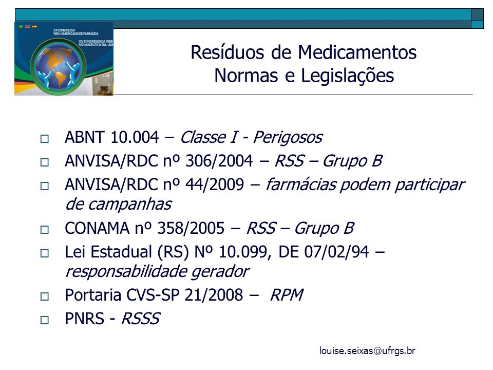 louise.seixas@ufrgs.br Ação de extensão 16235- PROREXT/UFRGS Campanha pelo descarte correto de medicamentos vencidos Faculdade de Farmácia/UFRGS Farmácia Popular do Brasil HCPA/UBS Santa Cecília PanVel Farmácias Pró-Ambiente CTRQ/UFRGS CGA/UFRGS Porto Alegre Resíduos de Medicamentos Ações – Projeto de Extensão/UFRGS