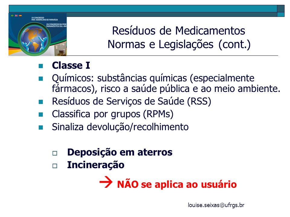 louise.seixas@ufrgs.br Classe I Químicos: substâncias químicas (especialmente fármacos), risco a saúde pública e ao meio ambiente. Resíduos de Serviço