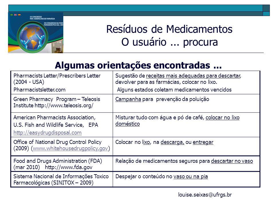 louise.seixas@ufrgs.br Resíduos de Medicamentos Projeto de Extensão/UFRGS - Destinação 2006 (3meses) (1164 apres.) 0,6 m 3 Com embalagens secundárias 2007 (9 meses) (2516 apres) 0,6m 3 Aprox 50Kg Com embalagens primárias 2008 (12 meses) (2046 apres) 1,3 m 3 Com embalagens primárias 2009 (12 meses) (....