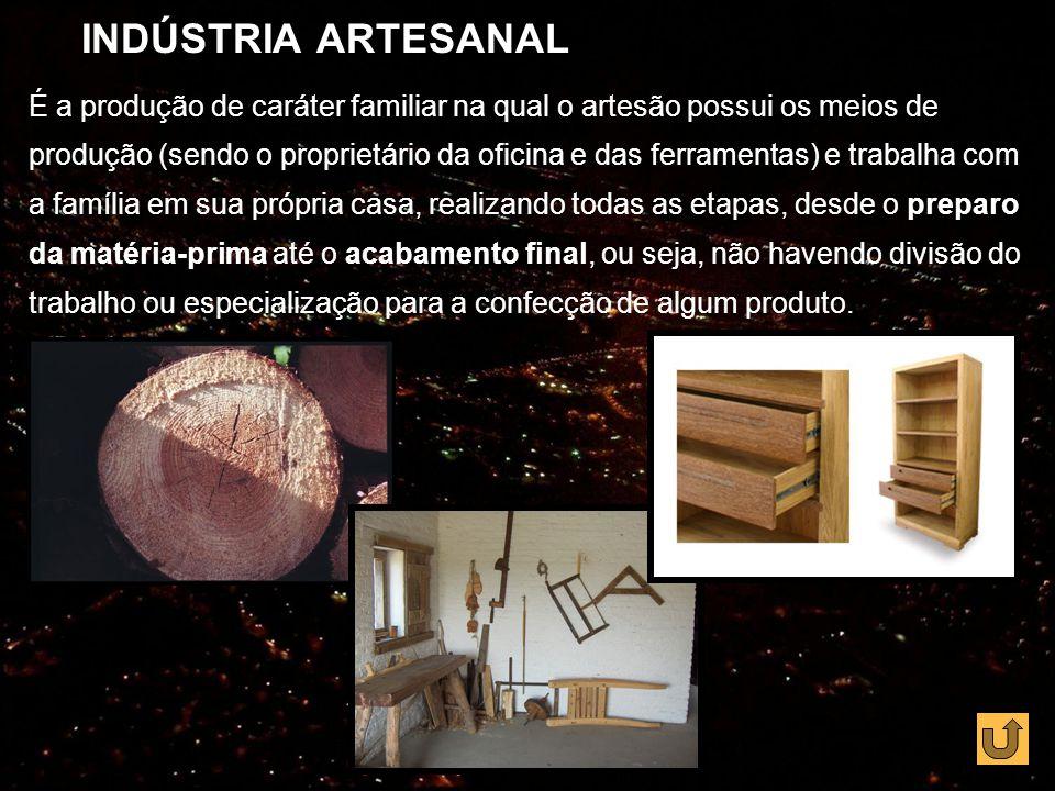 INDÚSTRIA MANUFATUREIRA A manufatura resultou da ampliação do consumo, que levou o artesão a aumentar a produção e o comerciante a dedicar-se à produção industrial.