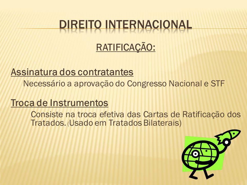 RATIFICAÇÃO: Assinatura dos contratantes Necessário a aprovação do Congresso Nacional e STF Troca de Instrumentos Consiste na troca efetiva das Cartas