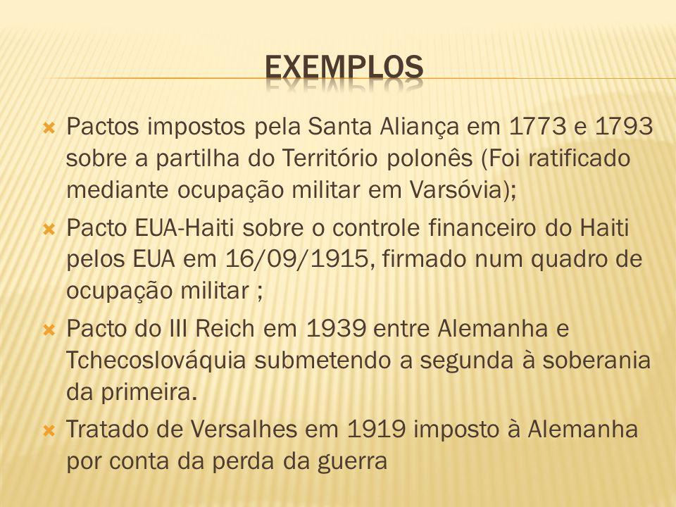 Pactos impostos pela Santa Aliança em 1773 e 1793 sobre a partilha do Território polonês (Foi ratificado mediante ocupação militar em Varsóvia); Pacto