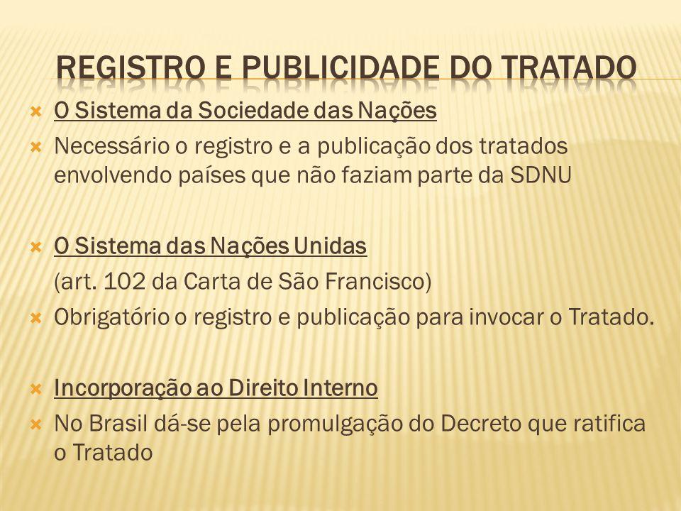 O Sistema da Sociedade das Nações Necessário o registro e a publicação dos tratados envolvendo países que não faziam parte da SDNU O Sistema das Naçõe