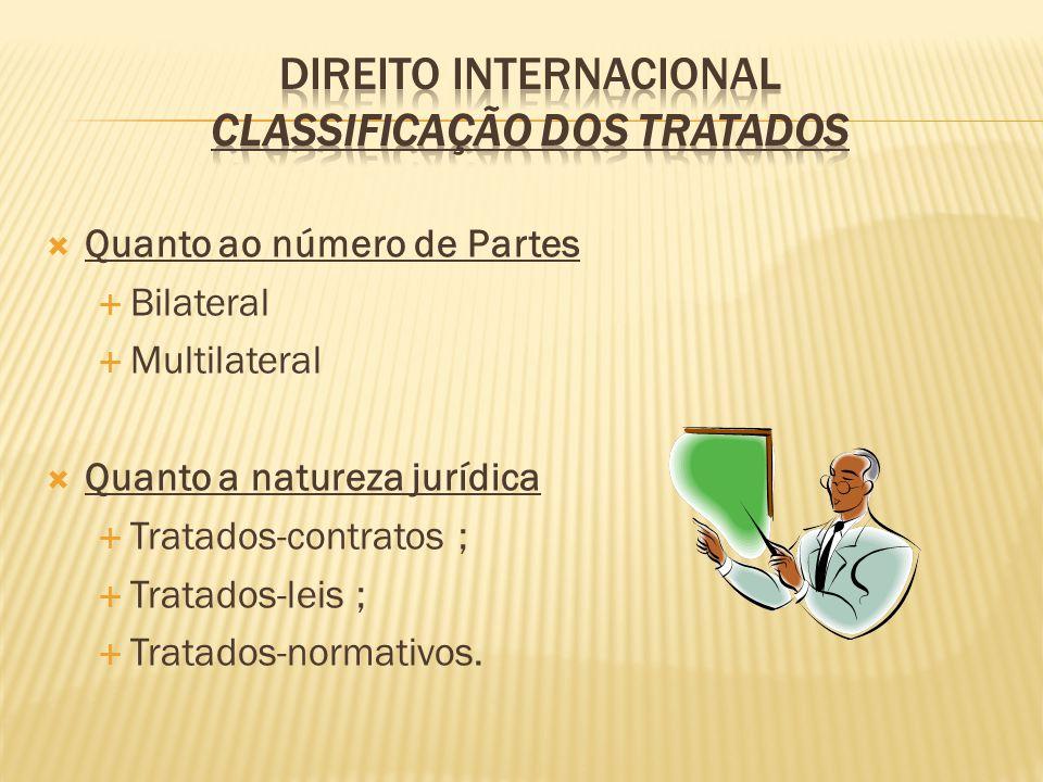 Quanto ao número de Partes Bilateral Multilateral Quanto a natureza jurídica Tratados-contratos ; Tratados-leis ; Tratados-normativos.