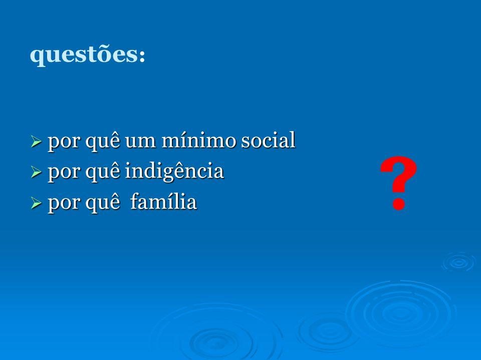 questões : por quê um mínimo social por quê um mínimo social por quê indigência por quê indigência por quê família por quê família