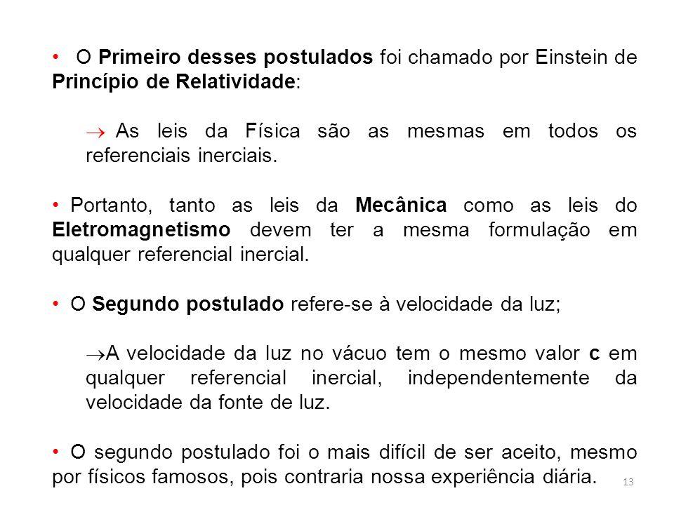 13 O Primeiro desses postulados foi chamado por Einstein de Princípio de Relatividade: As leis da Física são as mesmas em todos os referenciais inerciais.