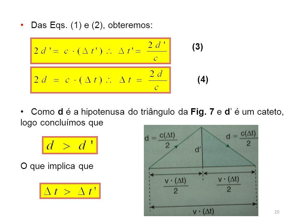 20 Das Eqs.(1) e (2), obteremos: (3) (4) Como d é a hipotenusa do triângulo da Fig.