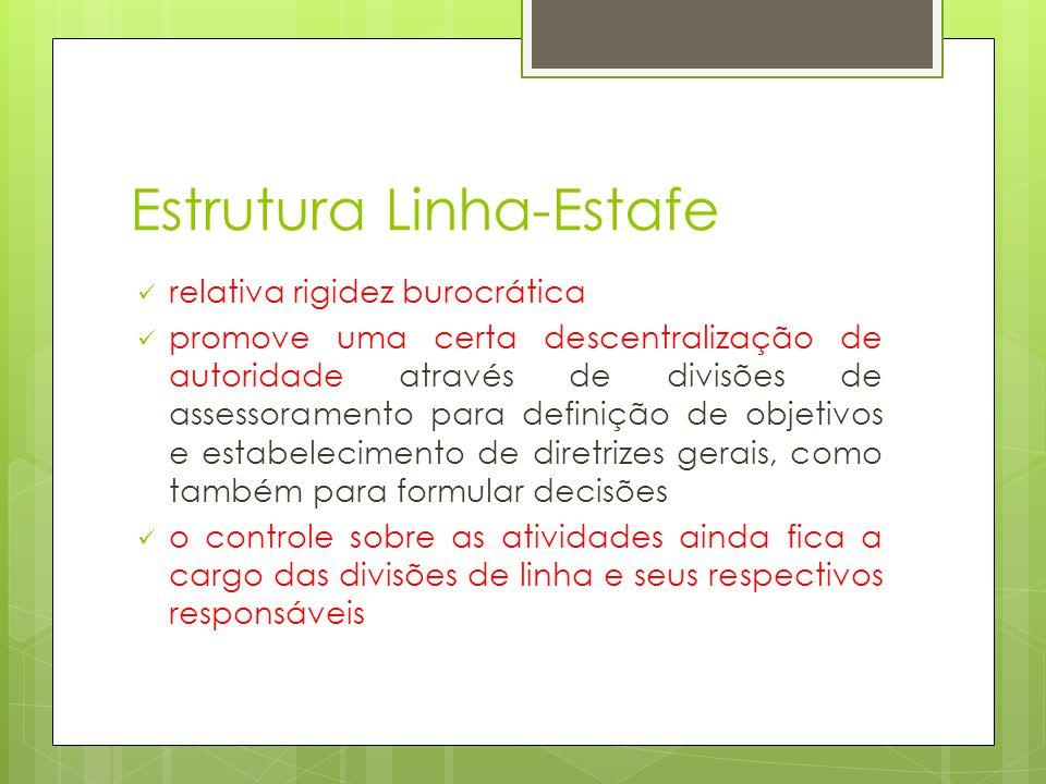 Estrutura Linha-Estafe relativa rigidez burocrática promove uma certa descentralização de autoridade através de divisões de assessoramento para defini