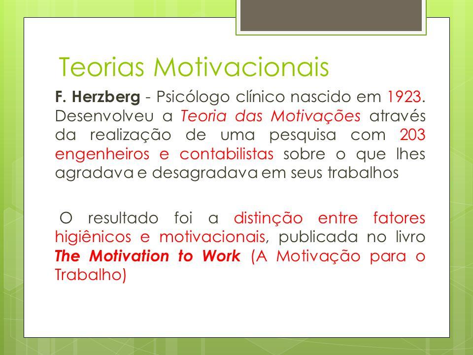 Teorias Motivacionais F. Herzberg - Psicólogo clínico nascido em 1923. Desenvolveu a Teoria das Motivações através da realização de uma pesquisa com 2