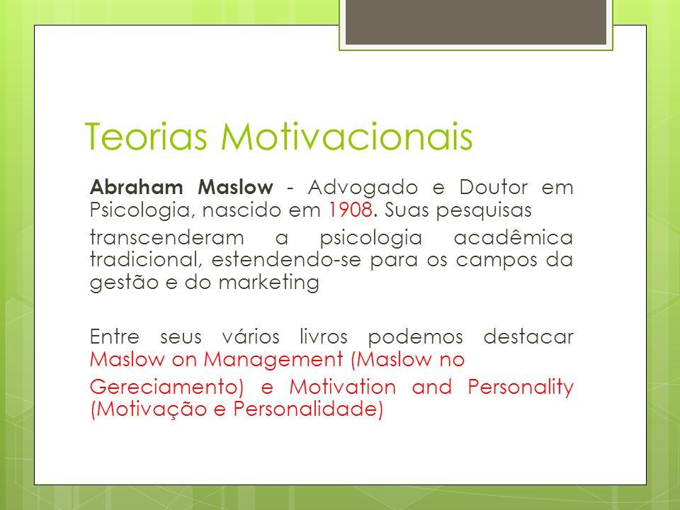 Teorias Motivacionais Abraham Maslow - Advogado e Doutor em Psicologia, nascido em 1908. Suas pesquisas transcenderam a psicologia acadêmica tradicion