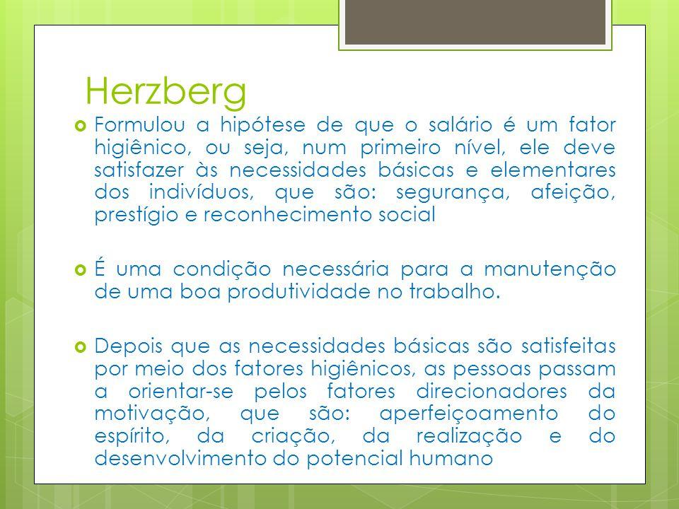 Herzberg Formulou a hipótese de que o salário é um fator higiênico, ou seja, num primeiro nível, ele deve satisfazer às necessidades básicas e elementares dos indivíduos, que são: segurança, afeição, prestígio e reconhecimento social É uma condição necessária para a manutenção de uma boa produtividade no trabalho.