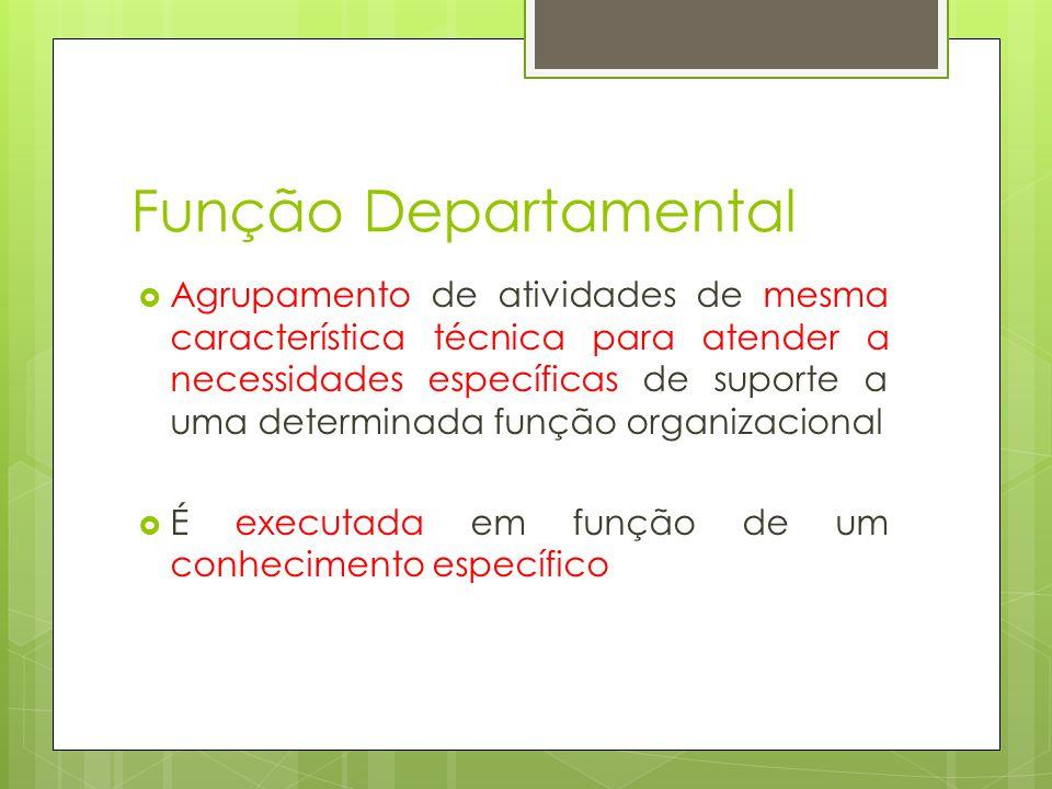 Função Departamental Agrupamento de atividades de mesma característica técnica para atender a necessidades específicas de suporte a uma determinada fu