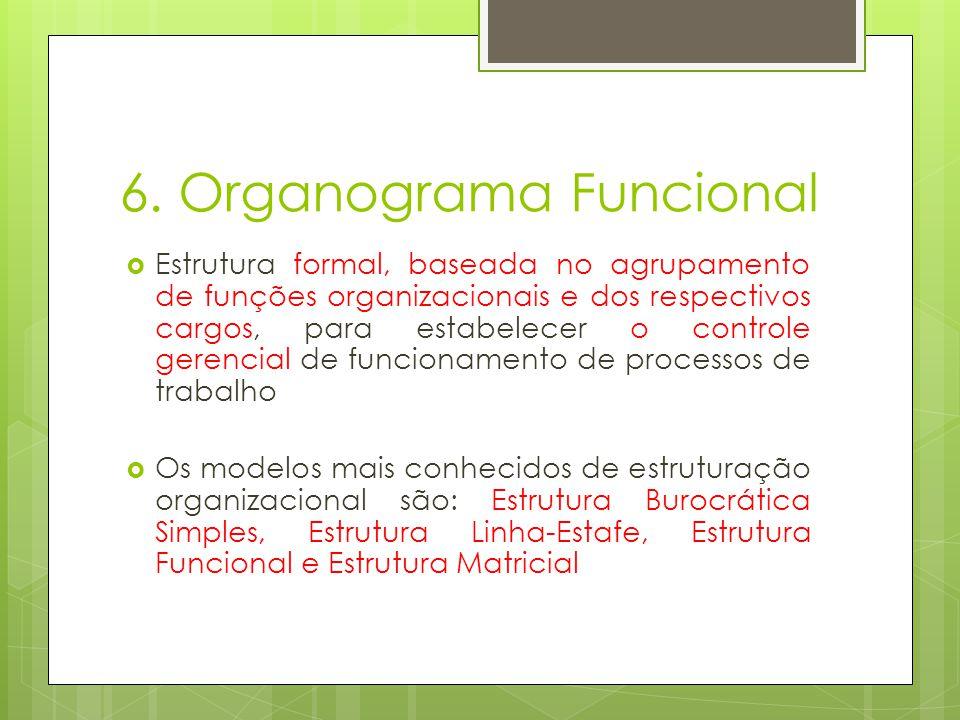 6. Organograma Funcional Estrutura formal, baseada no agrupamento de funções organizacionais e dos respectivos cargos, para estabelecer o controle ger