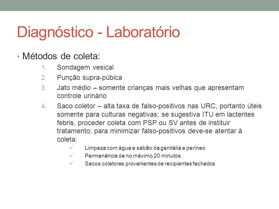 Diagnóstico - Laboratório Métodos de coleta: 1. Sondagem vesical 2. Punção supra-púbica 3. Jato médio – somente crianças mais velhas que apresentam co