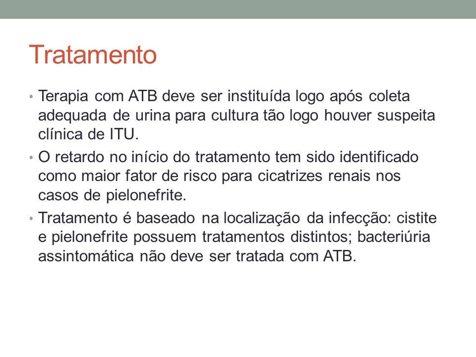 Tratamento Terapia com ATB deve ser instituída logo após coleta adequada de urina para cultura tão logo houver suspeita clínica de ITU. O retardo no i