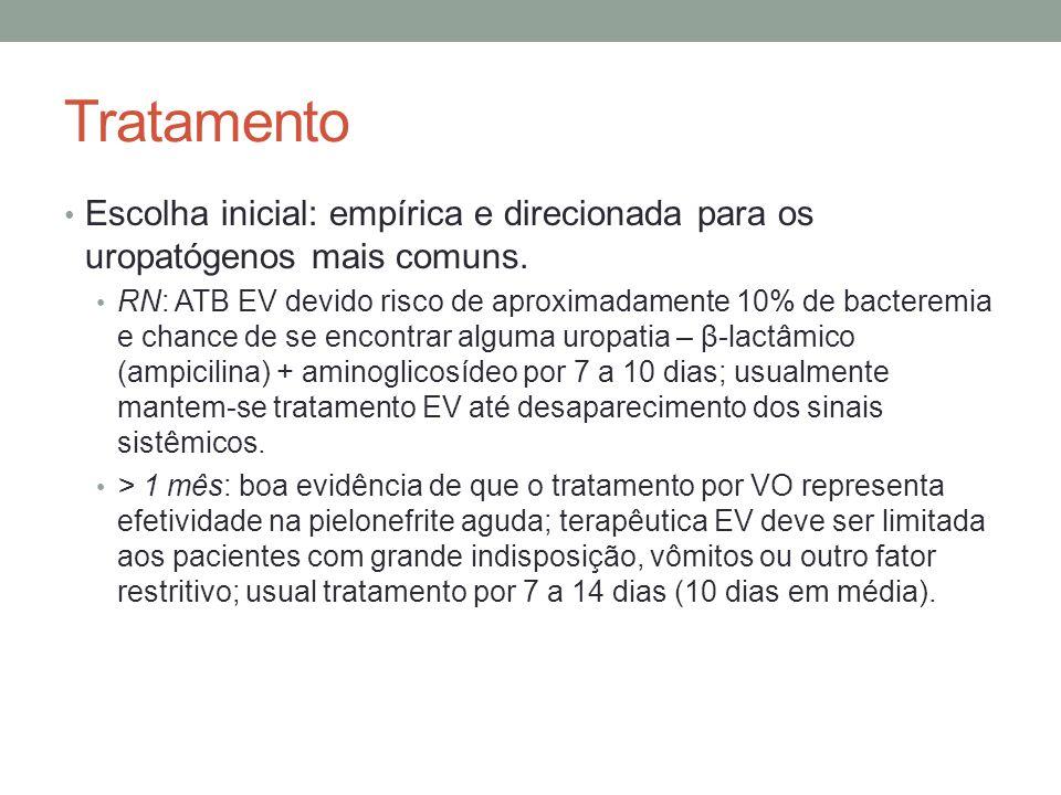 Tratamento Escolha inicial: empírica e direcionada para os uropatógenos mais comuns. RN: ATB EV devido risco de aproximadamente 10% de bacteremia e ch