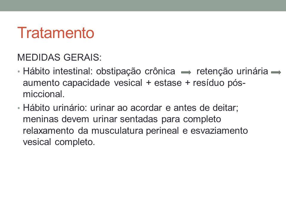 Tratamento MEDIDAS GERAIS: Hábito intestinal: obstipação crônica retenção urinária aumento capacidade vesical + estase + resíduo pós- miccional. Hábit