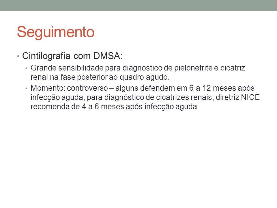 Seguimento Cintilografia com DMSA: Grande sensibilidade para diagnostico de pielonefrite e cicatriz renal na fase posterior ao quadro agudo. Momento: