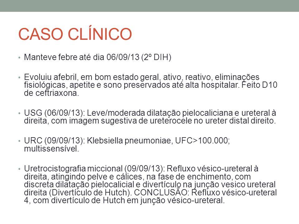 CASO CLÍNICO Manteve febre até dia 06/09/13 (2º DIH) Evoluiu afebril, em bom estado geral, ativo, reativo, eliminações fisiológicas, apetite e sono pr