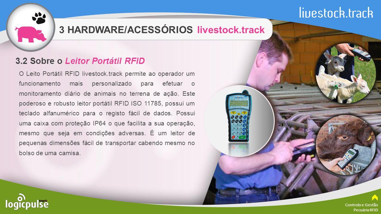 3 HARDWARE/ACESSÓRIOS livestock.track Controlo e Gestão Pecuária RFID O Leito Portátil RFID livestock.track permite ao operador um funcionamento mais
