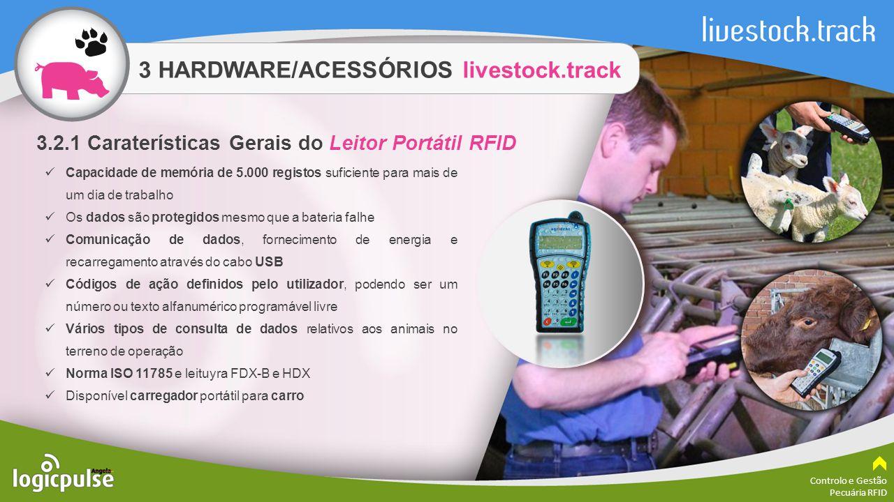 3 HARDWARE/ACESSÓRIOS livestock.track Controlo e Gestão Pecuária RFID Capacidade de memória de 5.000 registos suficiente para mais de um dia de trabal