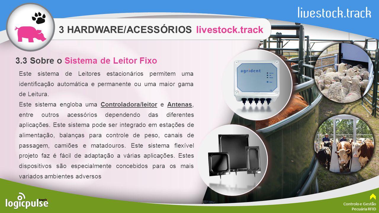 3 HARDWARE/ACESSÓRIOS livestock.track Controlo e Gestão Pecuária RFID Este sistema de Leitores estacionários permitem uma identificação automática e p