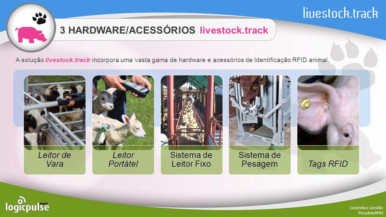 3 HARDWARE/ACESSÓRIOS livestock.track Controlo e Gestão Pecuária RFID O Leitor de Vara livestock.track é um poderoso leitor RFID portátil, desenvolvido para uso em ambientes agressivos e é ideal para uso em explorações, mercados e matadouros.