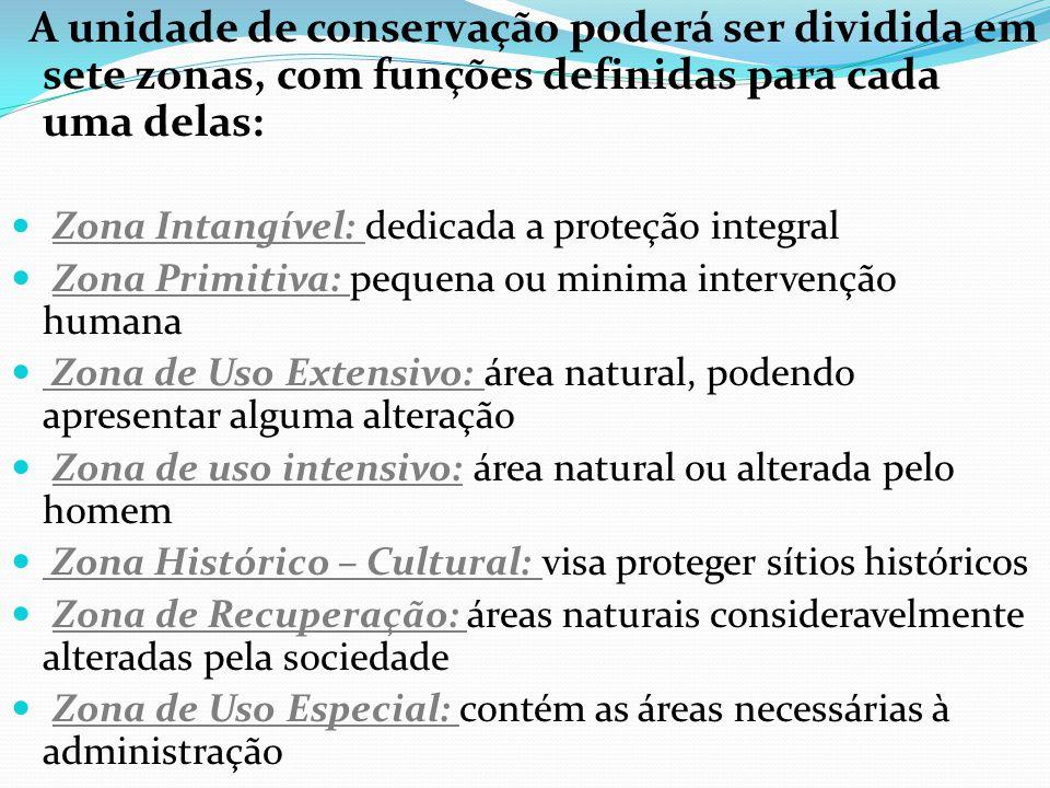 A unidade de conservação poderá ser dividida em sete zonas, com funções definidas para cada uma delas: Zona Intangível: dedicada a proteção integral Z