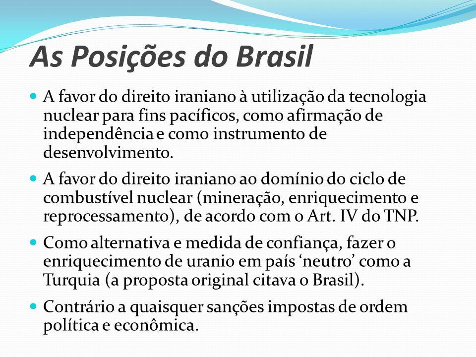 As Posições do Brasil A favor do direito iraniano à utilização da tecnologia nuclear para fins pacíficos, como afirmação de independência e como instrumento de desenvolvimento.