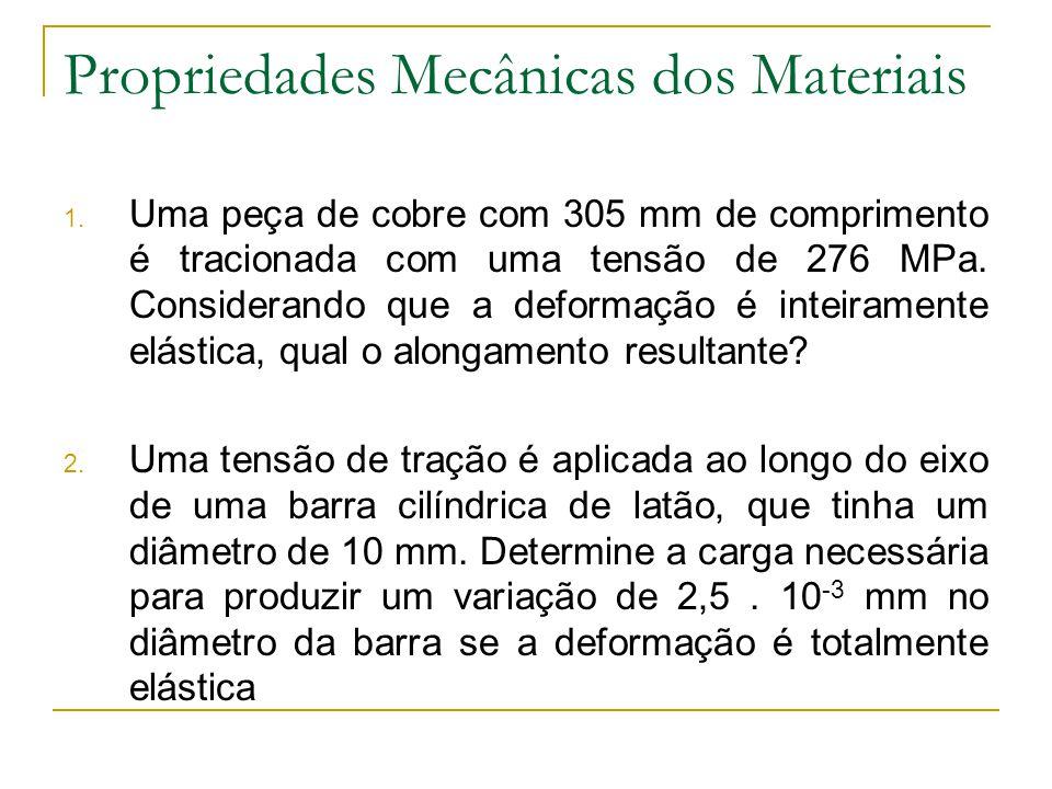 Propriedades Mecânicas dos Materiais 1. Uma peça de cobre com 305 mm de comprimento é tracionada com uma tensão de 276 MPa. Considerando que a deforma