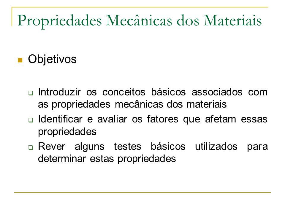 Propriedades Mecânicas dos Materiais Objetivos Introduzir os conceitos básicos associados com as propriedades mecânicas dos materiais Identificar e av