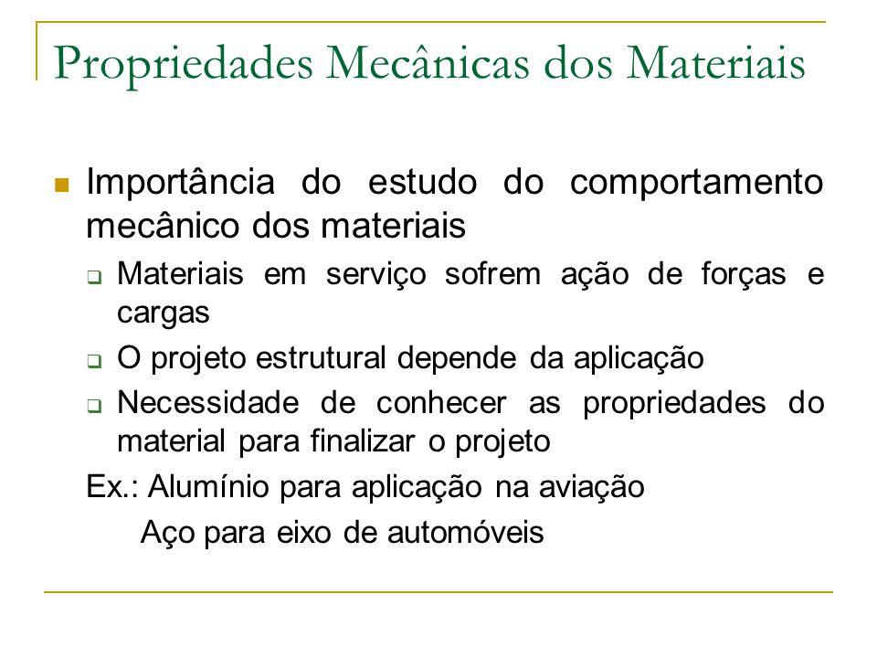Propriedades Mecânicas dos Materiais Importância do estudo do comportamento mecânico dos materiais Materiais em serviço sofrem ação de forças e cargas