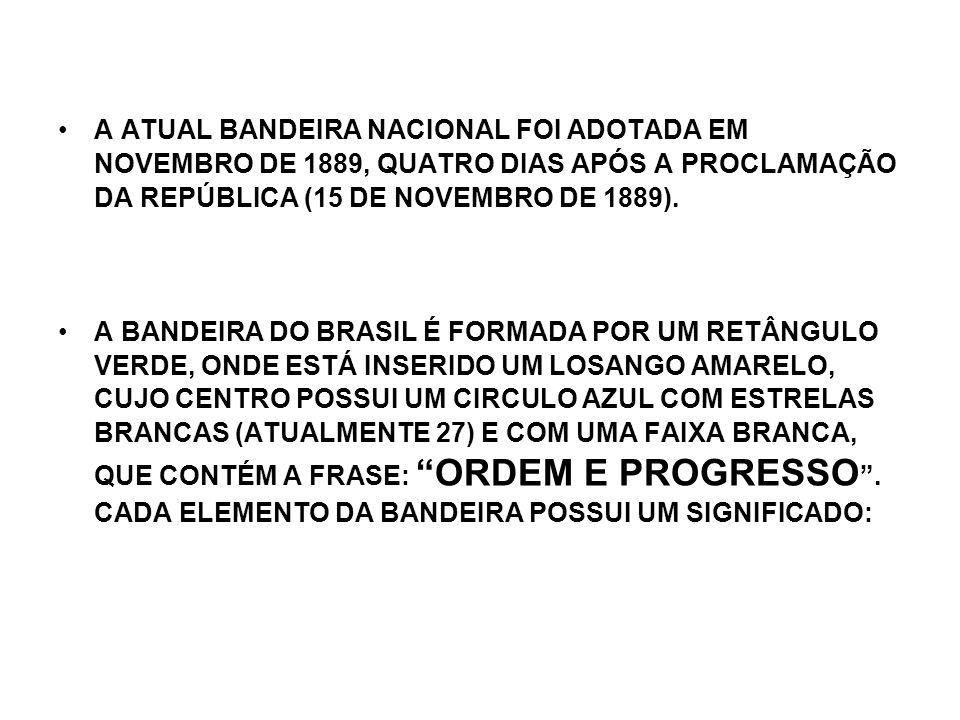 A ATUAL BANDEIRA NACIONAL FOI ADOTADA EM NOVEMBRO DE 1889, QUATRO DIAS APÓS A PROCLAMAÇÃO DA REPÚBLICA (15 DE NOVEMBRO DE 1889). A BANDEIRA DO BRASIL