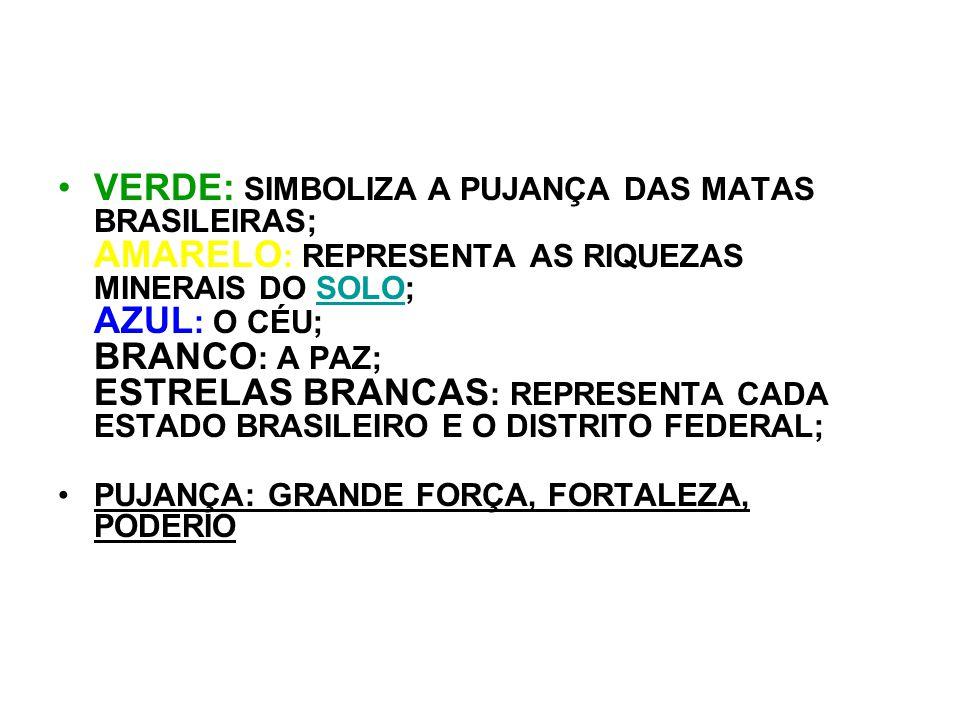 VERDE: SIMBOLIZA A PUJANÇA DAS MATAS BRASILEIRAS; AMARELO : REPRESENTA AS RIQUEZAS MINERAIS DO SOLO; AZUL : O CÉU; BRANCO : A PAZ; ESTRELAS BRANCAS :