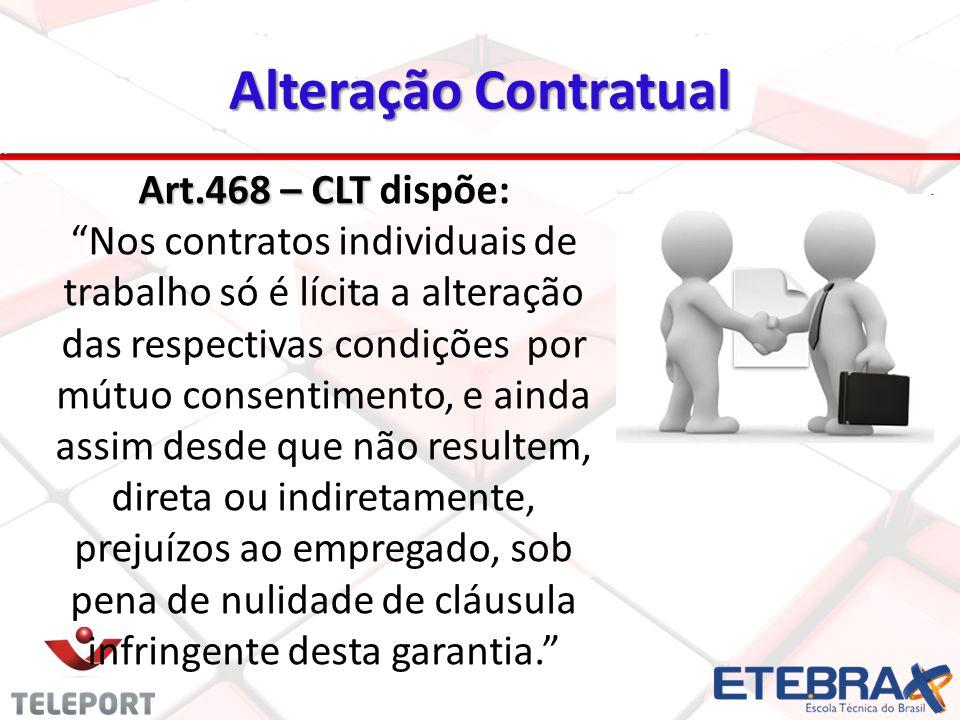 Alteração Contratual 25 Art.468 – CLT Art.468 – CLT dispõe: Nos contratos individuais de trabalho só é lícita a alteração das respectivas condições po