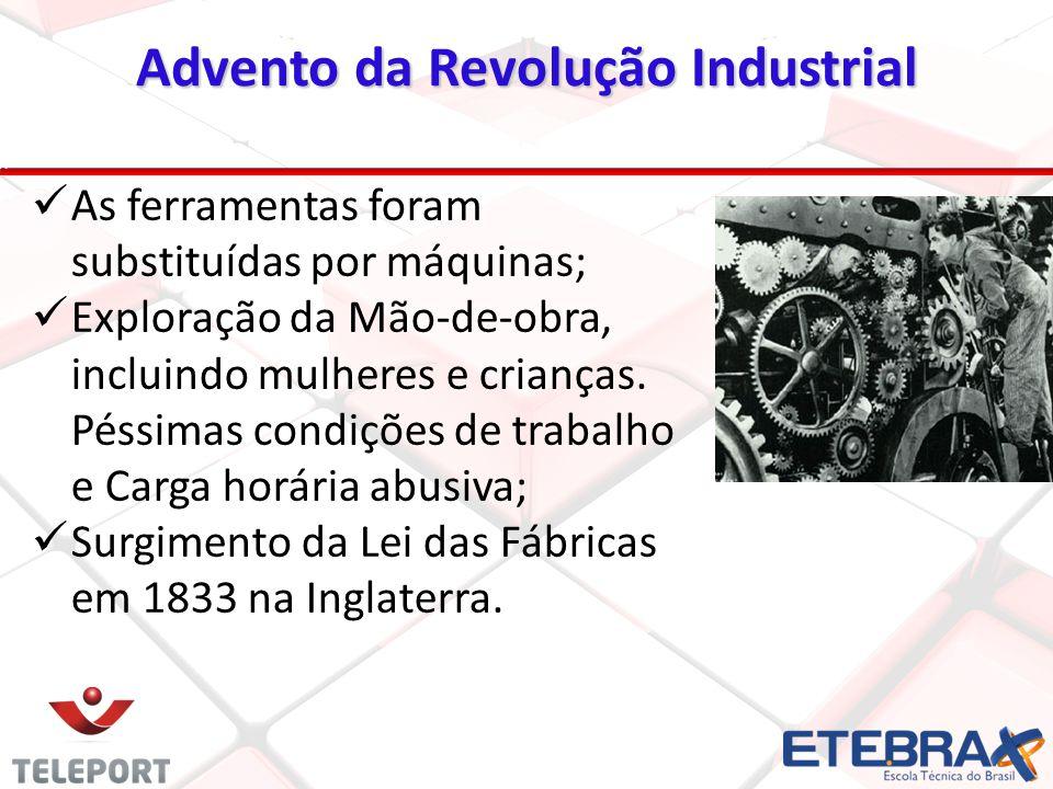 Advento da Revolução Industrial As ferramentas foram substituídas por máquinas; Exploração da Mão-de-obra, incluindo mulheres e crianças. Péssimas con