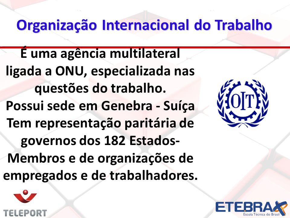 22 É uma agência multilateral ligada a ONU, especializada nas questões do trabalho. Possui sede em Genebra - Suíça Tem representação paritária de gove