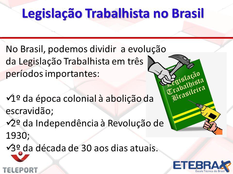 No Brasil, podemos dividir a evolução da Legislação Trabalhista em três períodos importantes: 1º da época colonial à abolição da escravidão; 2º da Ind