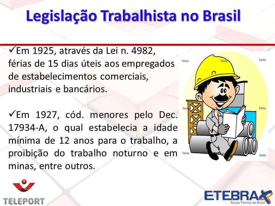 Em 1925, através da Lei n. 4982, férias de 15 dias úteis aos empregados de estabelecimentos comerciais, industriais e bancários. Em 1927, cód. menores