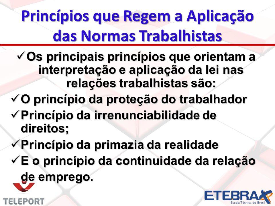 Princípios que Regem a Aplicação das Normas Trabalhistas Os principais princípios que orientam a interpretação e aplicação da lei nas relações trabalh