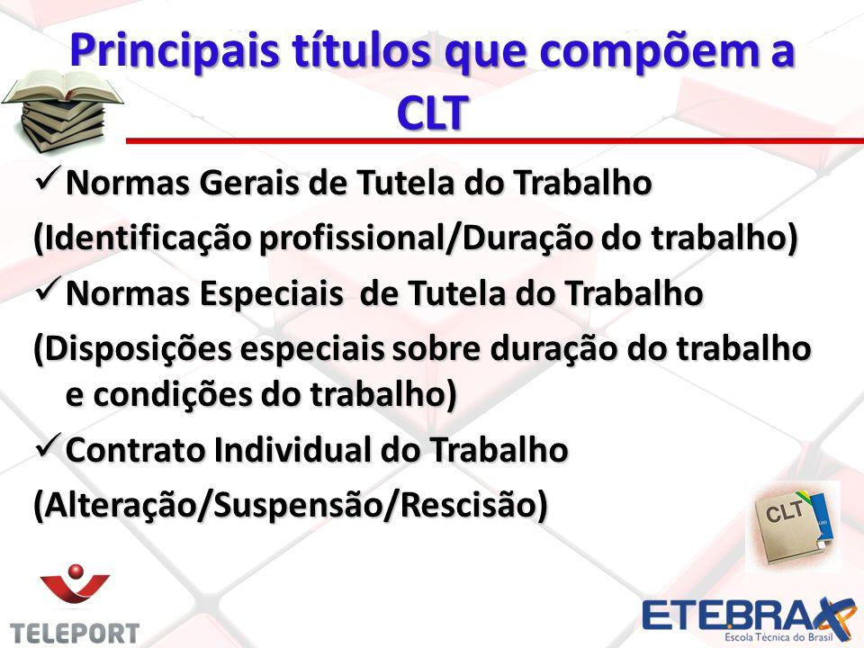 Principais títulos que compõem a CLT Normas Gerais de Tutela do Trabalho Normas Gerais de Tutela do Trabalho (Identificação profissional/Duração do tr