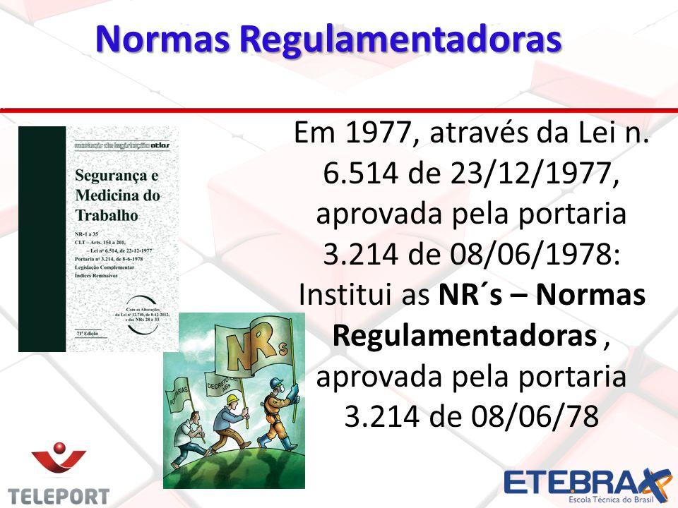 Em 1977, através da Lei n. 6.514 de 23/12/1977, aprovada pela portaria 3.214 de 08/06/1978: Institui as NR´s – Normas Regulamentadoras, aprovada pela
